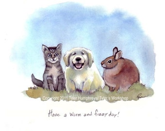 Baby Animals Greeting Card, Baby Card, Handmade Greeting Card, Puppy Kitten Bunny Rabbit Card 'Have a Warm and Fuzzy Day'