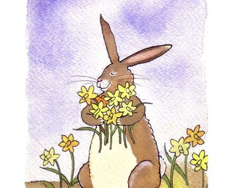 Daffodil Flowers & Funny Bunny Rabbit Card, Rabbit Art, Spring Greeting Card, Rabbit Watercolor Print 'Stop And Smell The Daffodils'