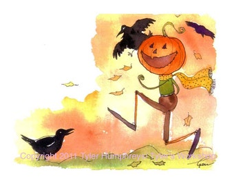 Crows and Pumpkin Halloween Card Funny Halloween Greeting Card Halloween Cards for Children Kids