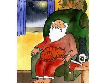 Cats Christmas Greeting Card- Cat Art- Santa Clause and Cats Watercolor Painting Illustration Print