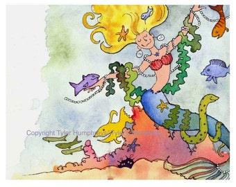 Mermaid Card, Mermaid Art, Funny Fish Mermaid Greeting Card Mermaid Watercolor Painting/ Illustration Print 'Mermaid Princess'