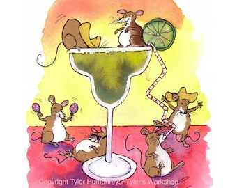 Funny Mouse Watercolor Card - Mouse Art - Mice Watercolor Illustration Cartoon Print 'Margarita Mice'