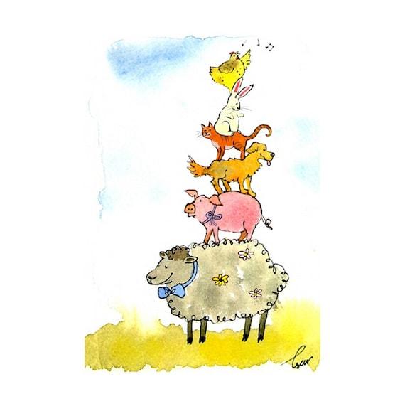 Easter Card, Funny Watercolor Animals Spring Greeting Card, Animal Art, Chicken Cat Rabbit Pig Sheep Animals Illustration Print