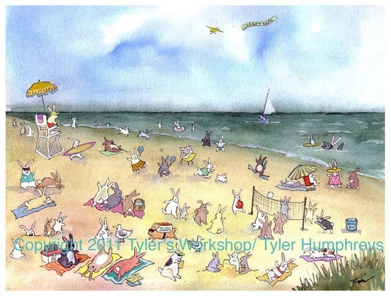 Funny Bunny Rabbit Greeting Card Watercolor Rabbit Art Beach Sea Painting Illustration Print 'BEACH BLANKET BUNNIES'