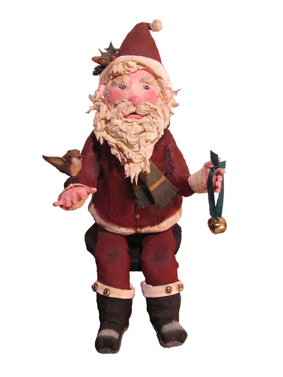 RESERVED FOR CUSTOMER Paper Mache Santa Doll - Santa Clause Paper Sculpture - Christmas Decoration Art Doll - Special Clearance Price