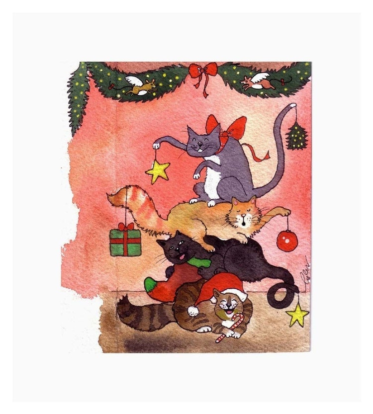 cat christmas card funny cats card cat art by tylersworkshop. Black Bedroom Furniture Sets. Home Design Ideas
