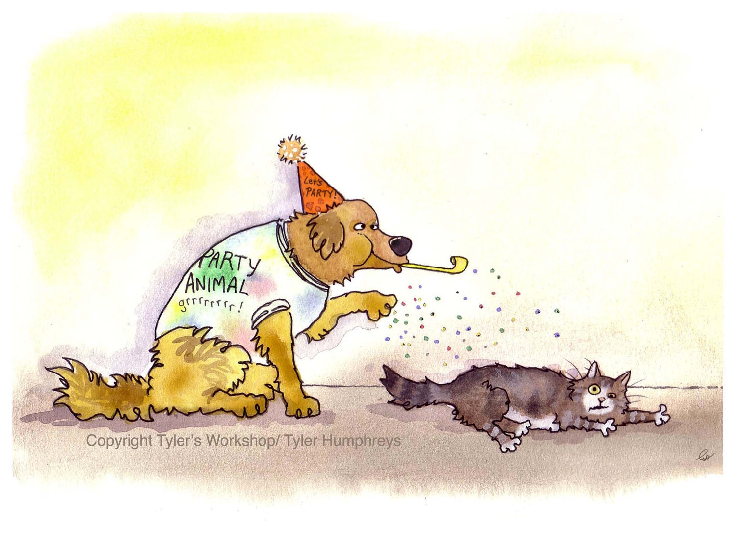 funny cat  dog card party animals dog and cat greeting card, Birthday card