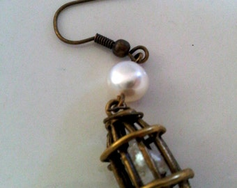 Pearl in a Birdcage Freshwater Pearl and Antique Brass Earrings