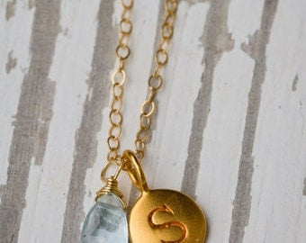 Bridesmaids 14k Initial Charm Necklace with Gemstone Custom