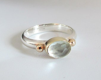 Aquamarine Gemstone Ring In 14k Solid Gold And Sterling Silver. Mixed Metal Stackable Ring, Solitaire Ring