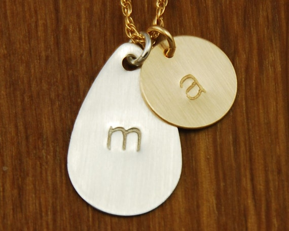 Initial Necklace - Mom Jewelry - Kids Names Personalized Necklace - Mom Handstamped Monogram 2 Disc Pendant - Mommy Jewelry - Mixed Metal