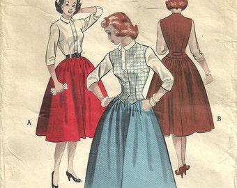 Vintage 50s Sewing Pattern // Butterick 6263 // Skirt Blouse Vest // Size 14