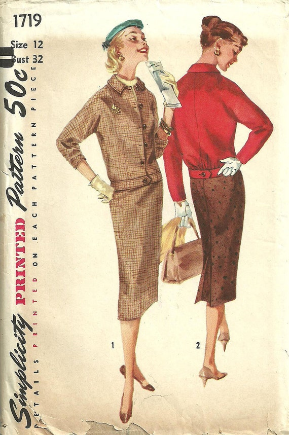 Vintage Fifties Sewing Pattern from Simplicity 1719 Suit Size 12