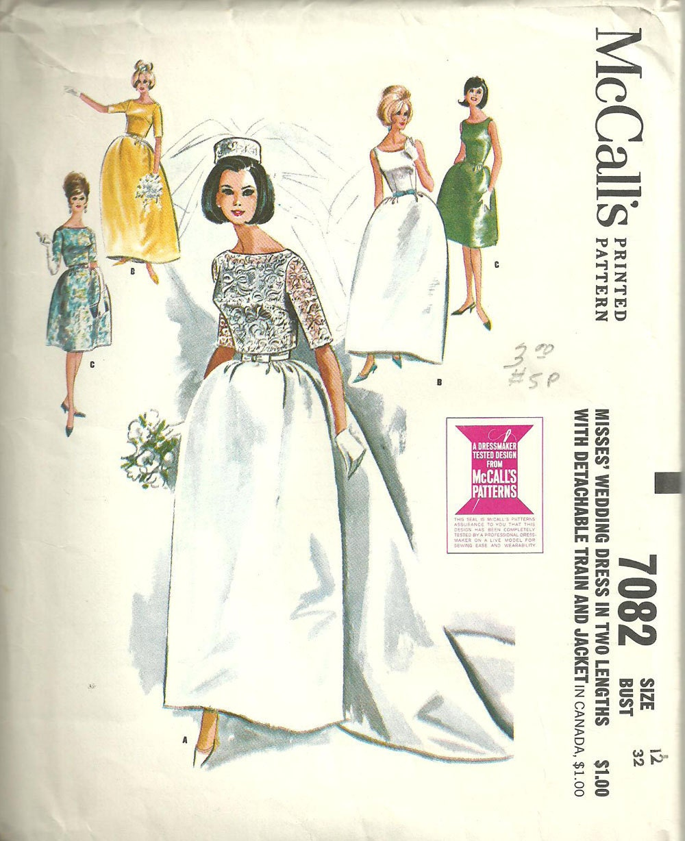 Vintage Bridal Gown Sewing Pattern McCalls By StudioGpatterns