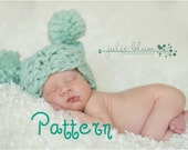 Pom Pom Hat KNITTING PATTERN Thick and Thin, Chunky Square Baby Photography Prop, Instant Download