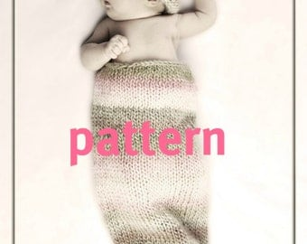 KNITTING PATTERN Baby Cocoon Pod and Hat, Newborn Photography Prop, Sell What You Make, Instant Download