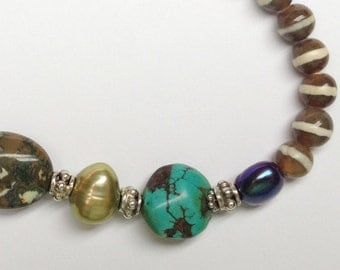 Agate Bracelet with Turquoise, Pearls and Rhyolite Accent Beads, Sterling Silver Toggle Clasp