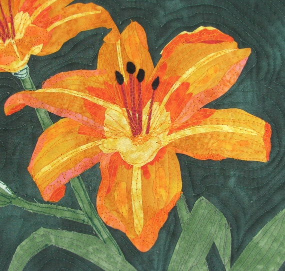 Contemporary Art Quilt- Uncommon Daylilies Original Framed