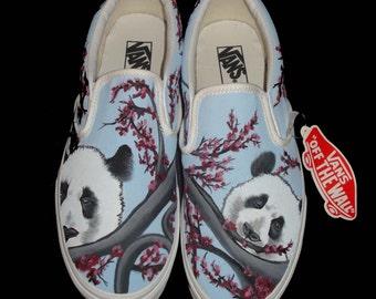 Hand Painted Vans - Panda's