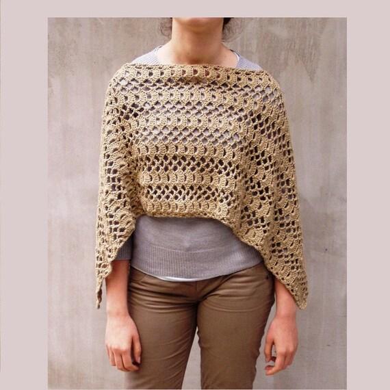 Poncho, Crochet poncho, Sahara, poncho shawl, crochet wrap, ecru, Fashion poncho, lace wrap, women poncho, feminine, cottage chic, maternity