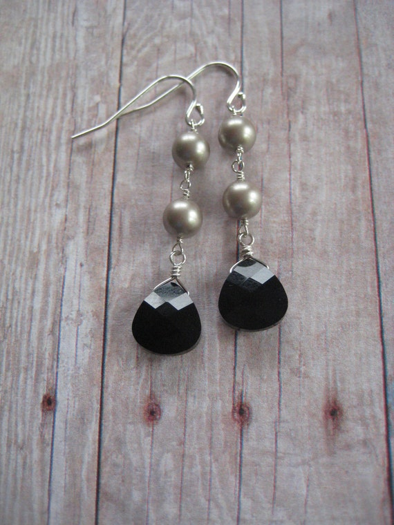 SALE Long Dangle Earrings, Silver Pearl and Black Crystal, Gift for Her