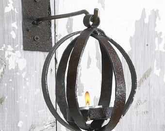 Holiday Candle Lantern Reclaimed Metal Christmas Candle Lantern