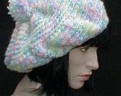 Crocheted Slouch, Hat, Beret - Cotton Candy Hat - Pastel Colors Hat