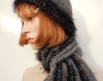 Hat and Scarf Set, Black and Gray - Crochet Hat and Scarf