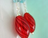 Red Riding Hood- Hand Blown glass and Apaptite Earrings