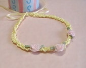 Yellow & Pink Child's Handknit Ribbon Necklace