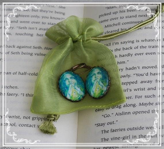 Mermaid Art -  Vintage Bronze Earrings - Blue Mermaid - Mermaid Earrings - Mermaid Bridesmaids.