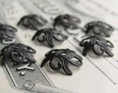 Art Nouveau Lily 9mm beadcap - black antiqued brass (8 black bead caps) oxidized brass bead cap BC-SV-032