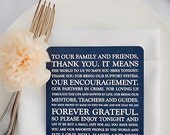 PRINTED Reception Thank You Card for Wedding Day Single Sided - Style TY8 - ORIGINAL  COLLECTION    Wedding   Navy Thank You   Square