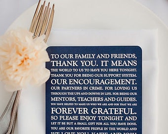 Wedding Reception Thank You Card - Style TY8 - ORIGINAL  COLLECTION | Wedding Thank You Card | Thank You Card | Thank You PRINTED