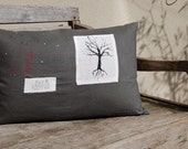 Decorative pillow : Petite Moon charcoal grey linen and black tree