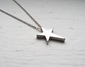 north star necklace, silver star charm necklace, dangle necklace, astronomy pendant, rhodium plated brass, cute jewelry gift idea