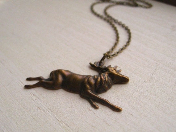 lakota necklace, deer stag charm necklace, dangle necklace, woodland animal pendant, antique brass, cute jewelry gift
