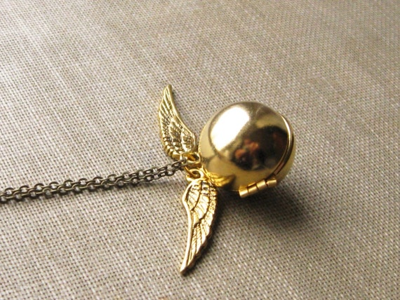 golden snitch necklace, harry potter locket charm necklace, dangle necklace, fantasy book pendant, antique brass, cute jewelry gift idea