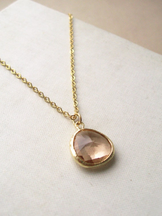 celia necklace, clear peach glass charm necklace, dangle necklace, 16k gold plated pendant, raw brass, cute jewelry gift