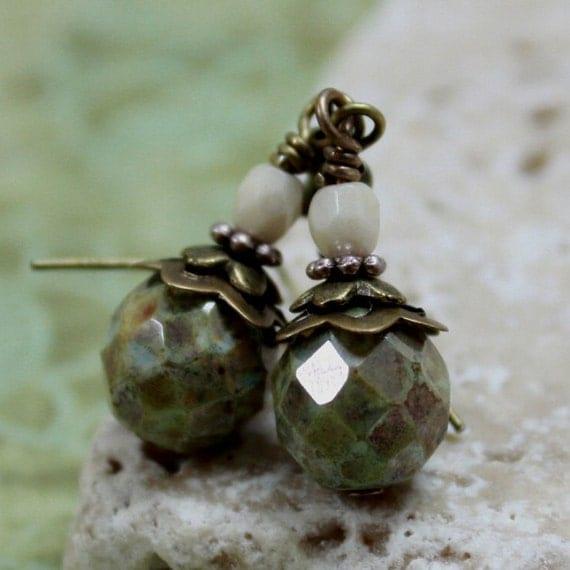 Green Fire-Polished Czech Glass Bead Earrings - CLEARANCE SALE - A.35