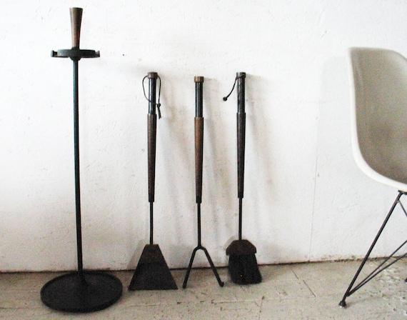RESERVED for shjordan21 - SALE  Mid Century Modern Fireplace Tools Set , Iron Walnut - Eames Nelson Era 1950s