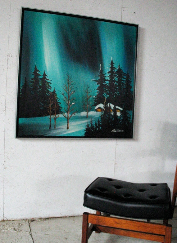 """RESERVED for Customer MADMEN SALE! Mid Century Original Abstract Painting, 37x37"""" Turquois Winter Landscape Painting Cabin Snow Woods Trees"""