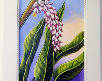 Tropical White Shell Ginger Bloom Hand Painted on Reclaimed Cabinet Door Floral Plant Still Life Painting