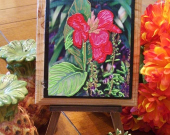 Canna Lily Plaque Mixed Media on Reclaimed Wood