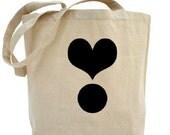 Black Heart Tote Bag - Cotton Canvas Tote Bag - Valentines Day