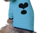 Dog Tee Shirt - Black HEART - Blue Ringer Tee