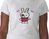 Sweet Heart Easter Bunny Rabbit T-Shirt - Graphic Tee - Womens Short Sleeve Cotton Tee