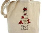 Wedding Cake - Cotton Canvas Tote Bag - Wedding Tote - Gift Bags - Custom