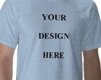 Custom Tee Shirt - Mens - Short Sleeve Cotton Tee - Light Blue