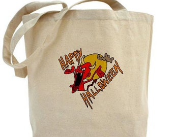 Halloween Tote - Cotton Canvas Tote Bag - Gift Bag